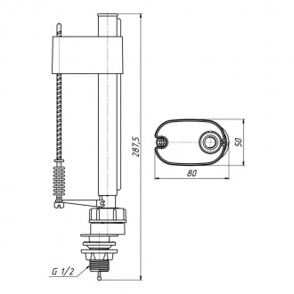 Арматура ANI Plast WC6550M с клапаном нижней подачи 1/2