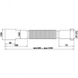 Гибкая труба ANI Plast К116 1 1/2х40/50 длина 800 мм - 1550 мм цена