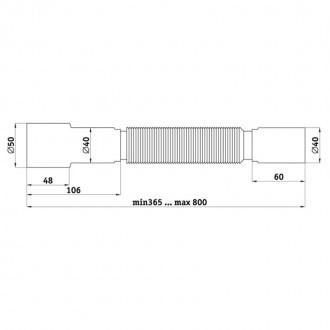 Гибкая труба ANI Plast К406 40х40/50 длина 400 мм - 800 мм цена