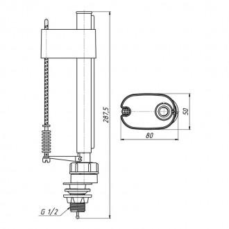 Впускной клапан ANI Plast WC5550 нижней подачи, пластиковое подключение 1/2
