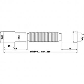 Гибкая труба ANI Plast К216 1 1/4х40/50 длина 800 мм - 1550 мм цена