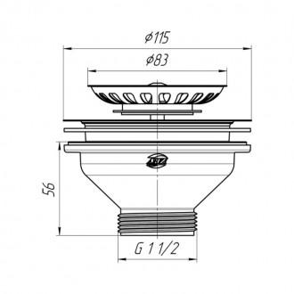 Выпуск ANI Plast М250 с нержавеющей сеткой 115 мм, выход  1 1/2
