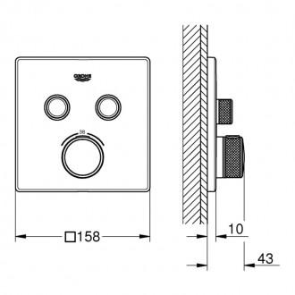 Внешняя часть термостатического смесителя на 2 выхода Grohe Grohtherm SmartControl 29124000 цена