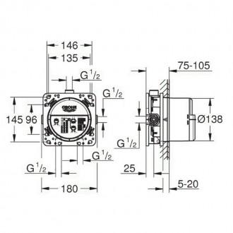 Душевая система скрытого монтажа с термостатом на 2 потребителя Grohe SmartControl 34614SC0 цена