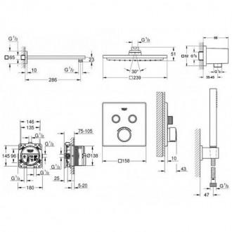 Душевая система скрытого монтажа с термостатом на 2 потребителя Grohe SmartControl 34506SC0 цена