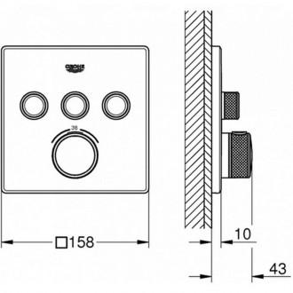 Внешняя часть термостатического смесителя Grohe Grohtherm SmartControl 29126000 на 3 выхода цена