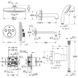 Душевая система скрытого монтажа на 3 потребителя Grohe Smart Control 34614SC2 цена