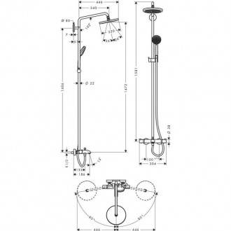 Душевая система Hansgrohe Croma 220 27223000 цена