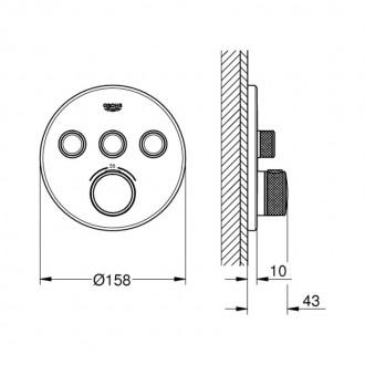 Внешняя часть термостатического смесителя Grohe Grohtherm SmartControl 29121000 на 3 выхода цена