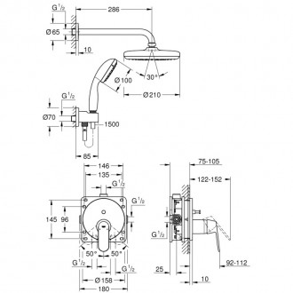 Душевая система скрытого монтажа Grohe Eurosmart Cosmopolitan 25219001 с Tempesta 210 цена