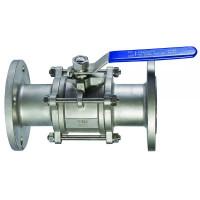 Кран шаровой фланцевый нержавеющий трехсоставной Ду 100 / шар-нж сталь 316 / PTFE / PN40